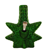Ceramic Bong - Metallic Green Leaf